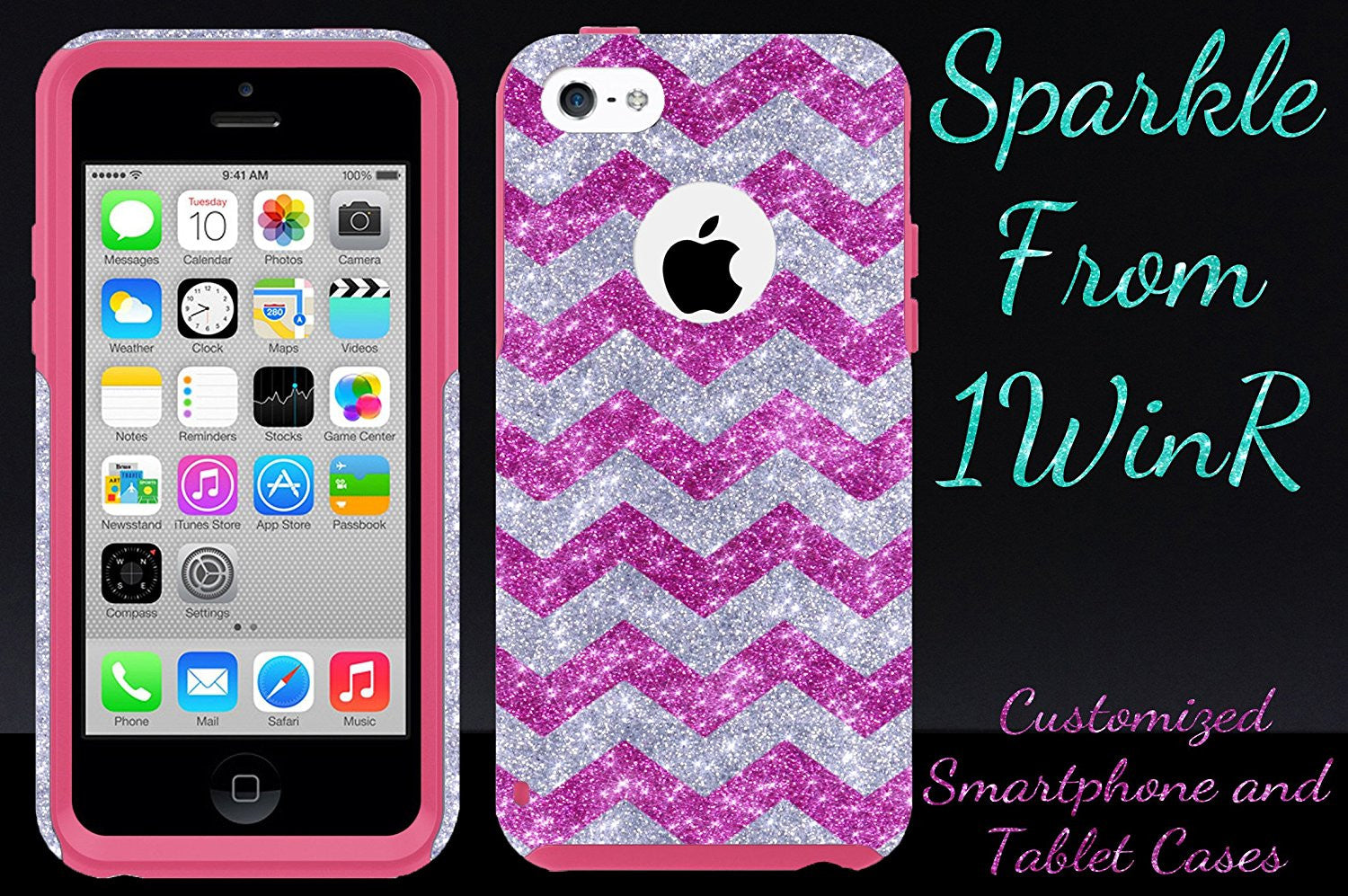 new style 7abce 923ca iPhone 5c Case - OtterBox Commuter Series - Retail Packaging - Glitter  Raspberry Small Chevron Silver/Pink