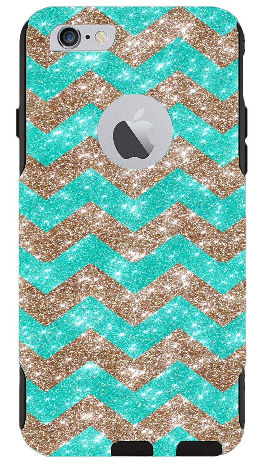 hot sale online 9447e a6db8 OtterBox iPhone 6 Plus Case - OtterBox Commuter Series Custom Glitter Case  for iPhone 6 Plus, Retail Packaging - Gold Small Chevron Wintermint/Black  ...