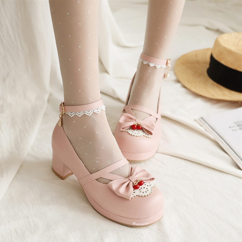 Lace Flower Lolita Bow Shoes SE21481