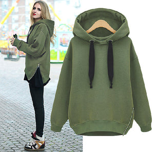 Fashion women's side zipper hoodie
