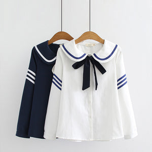 Cute Cat Stripe Sailor Shirt SE20075