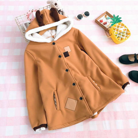 Cute Deer Hooded Woolen Coat SE20096