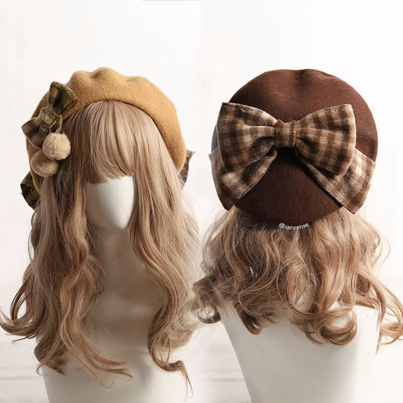 Plaid Bow Beret SE21491