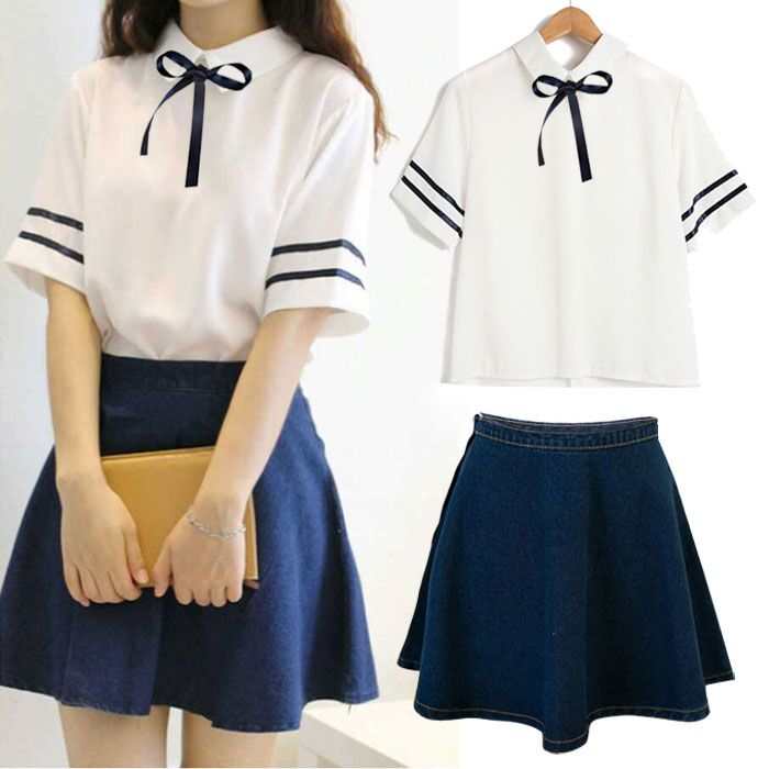 Japanese,students,shirt,skirt,two-piece outfit,tie shirt,stripe,navy,
