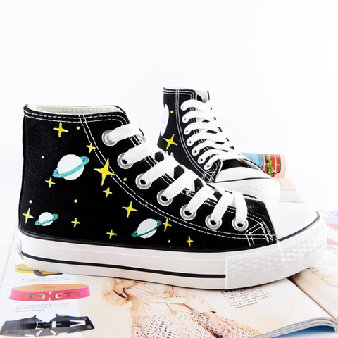 Harajuku graffiti hand-painted galaxy canvas flat shoes