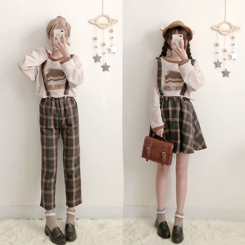 Students t-shirt + braces skirt/pants two-piece SE10865