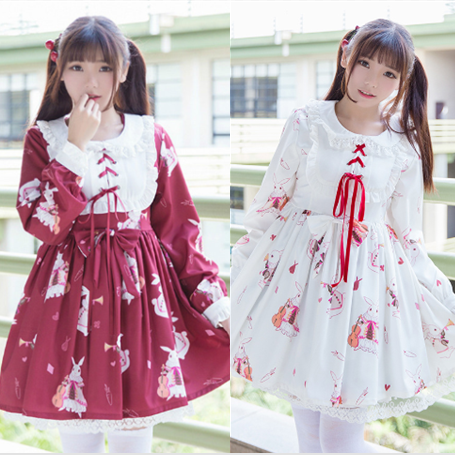 Red/white bunny printed dress SE10577