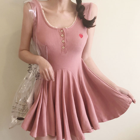 Pink/Grey V-neck Pleated Dress SE11372