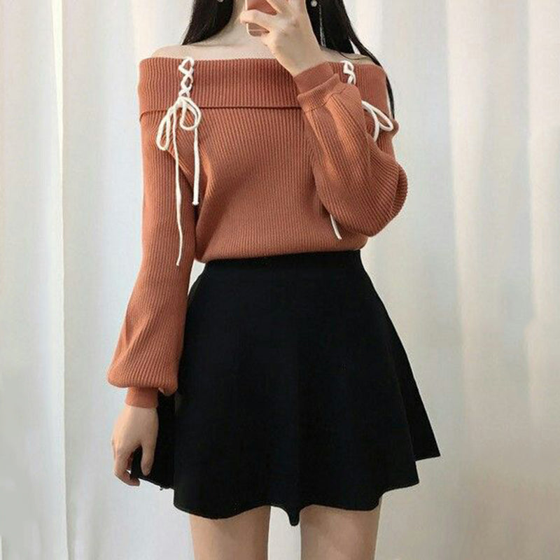 Lace-up Lantern Sleeve Sweater SE20202