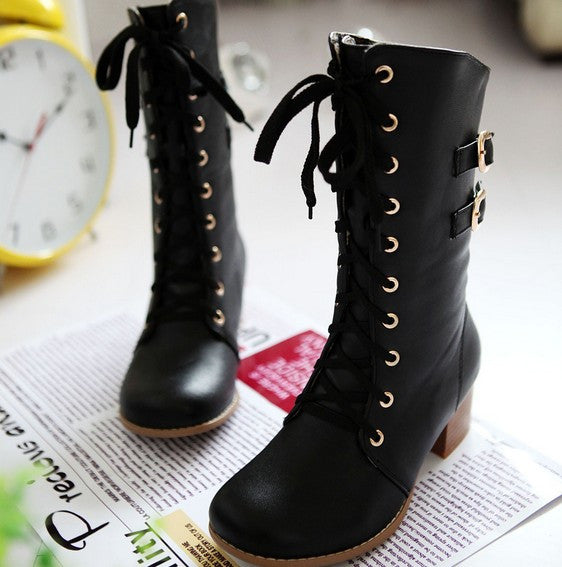 Fashion women lace metal buckle martin boots