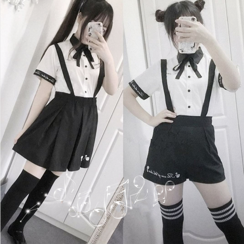 Cute students embroidered shirts + straps shorts/skirts two-piece SE10307
