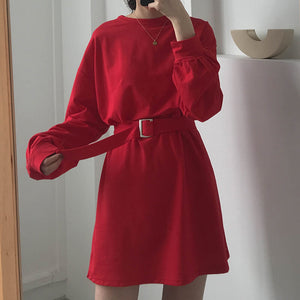 Korean Solid Color Loose T-shirt Dress SE20542