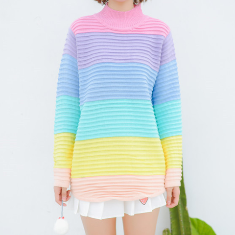 Sweet Rainbow Knitted Sweater SE10748