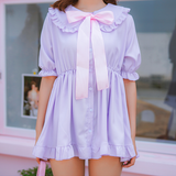 Light blue/light purple sweet bowknot dress SE11148