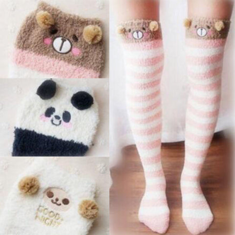 2017 fashion sweet students cartoon coral velvet stockings SE5994
