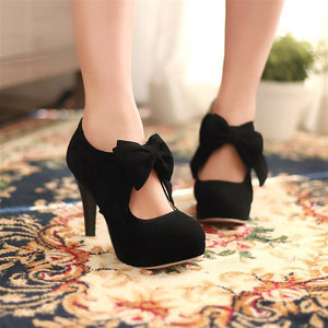kawaii cute Sweet bow fashion heeled shoes boots