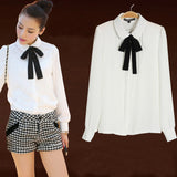 Fashion students sweet bow chiffon blouse