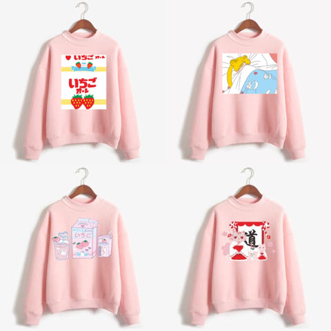 Pink cartoon printing sweatshirt SE10962