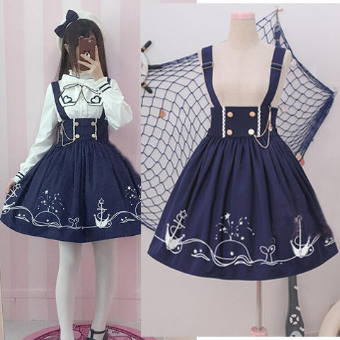 Japanese harajuku bowknot shirt/braces skirt SE10255