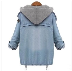 Fashion students denim hooded fleece coat two-piece SE4818