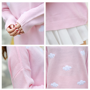 Sweet Embroidery Clouds Knit Sweater SE8558