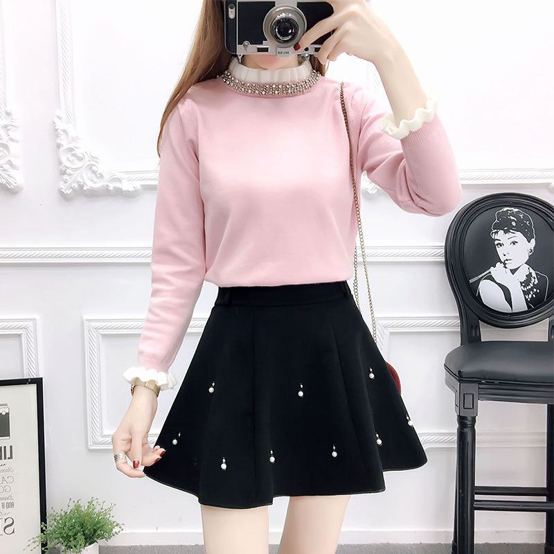 Sweet Knit Sweater Woolen Skirt Suit SE20140