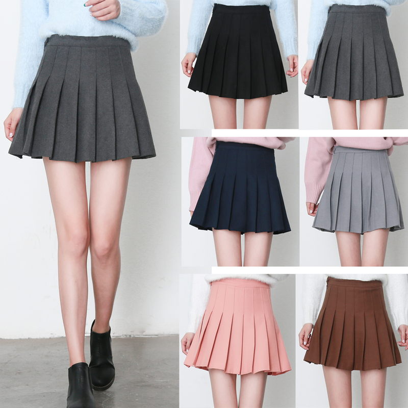 Sweet students woolen pleated skirt SE10803