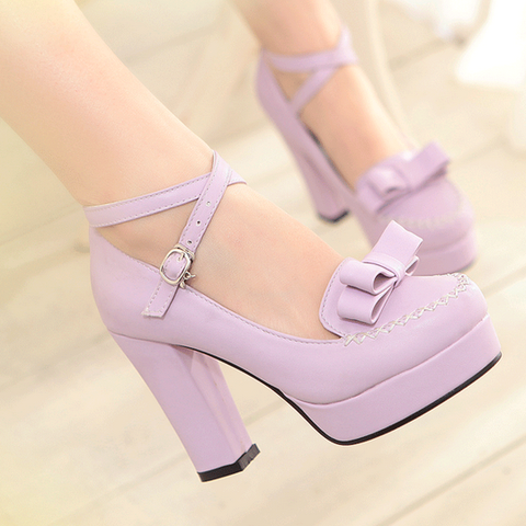 Japanese sweet bow cute kawaii heeled shoes