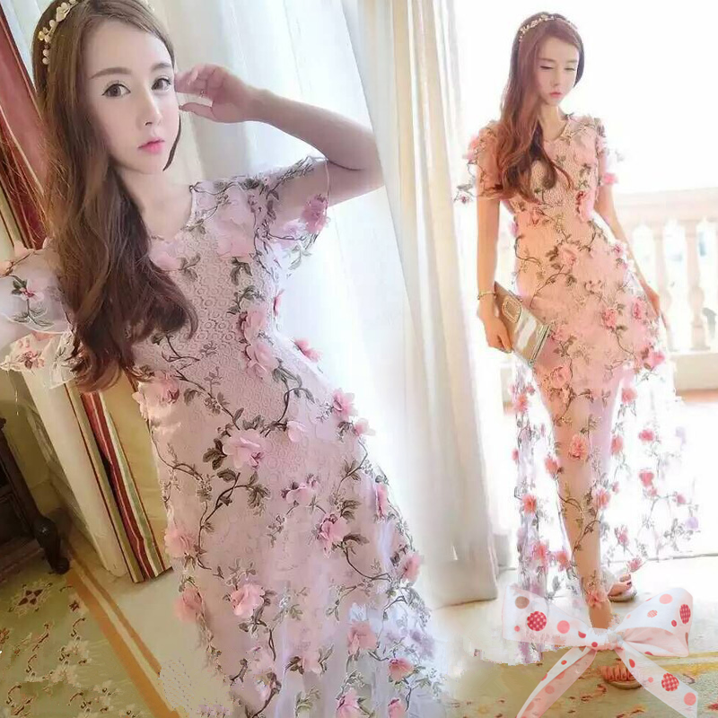 Sweet flowers pink dress