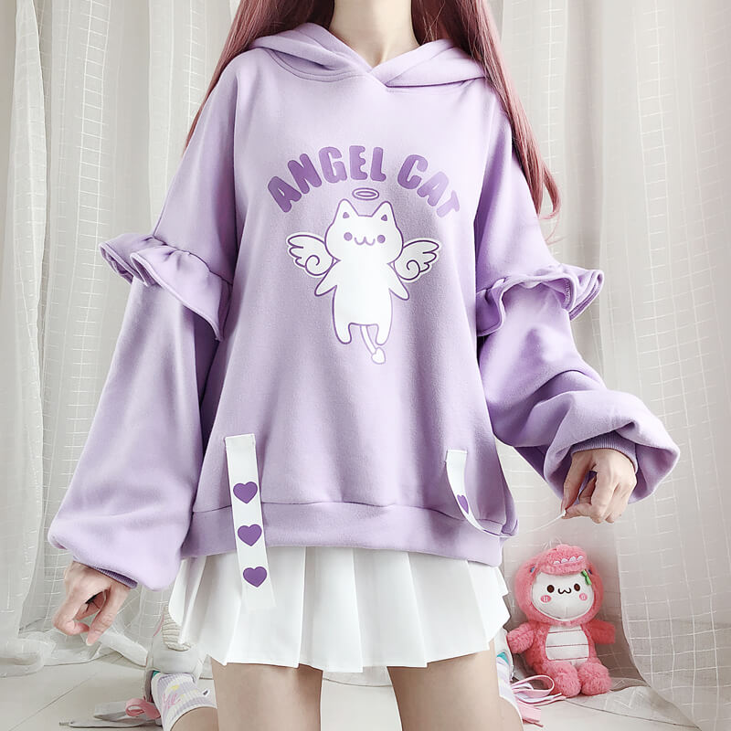 Angel Cat Purple Hoodie SE20644
