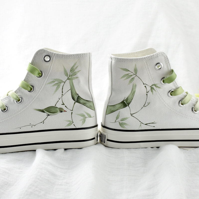 Bamboo Bird Hand Painted Shoes SE21554