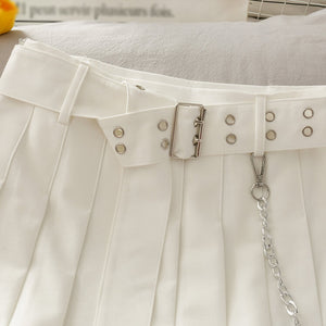 Belt Chain Pleated Skirt SE21531