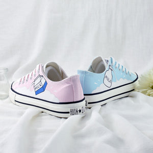 Bicolor Milk Hand-painted Shoes SE20838