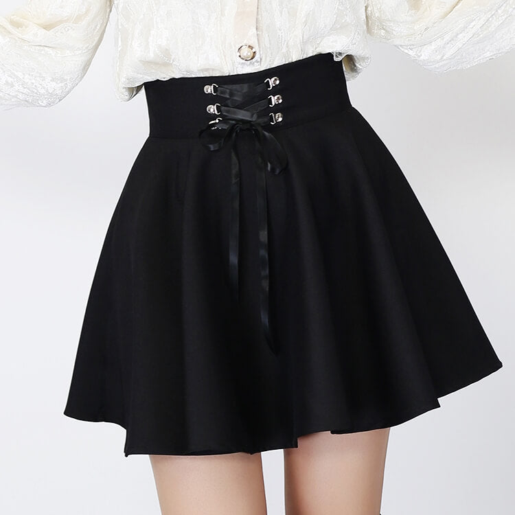 Black Lace-up Skirt SE21216