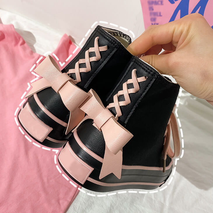 Black Pink Bow Canvas Shoes SE21548