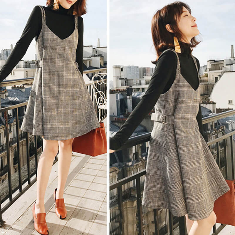 Black Sweater Woolen Plaid Dress Set SE20679