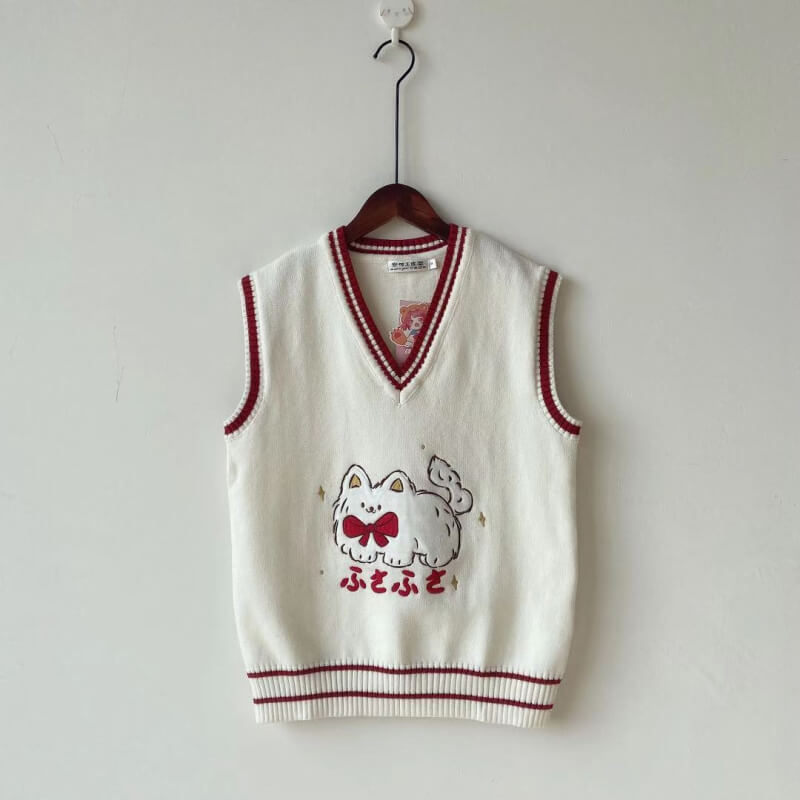 Bow Cat Vest Sweater SE21537