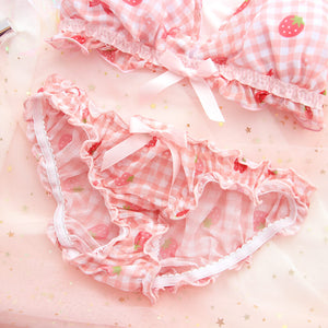 Bow Strawberry Grid Lingerie Set SE21070