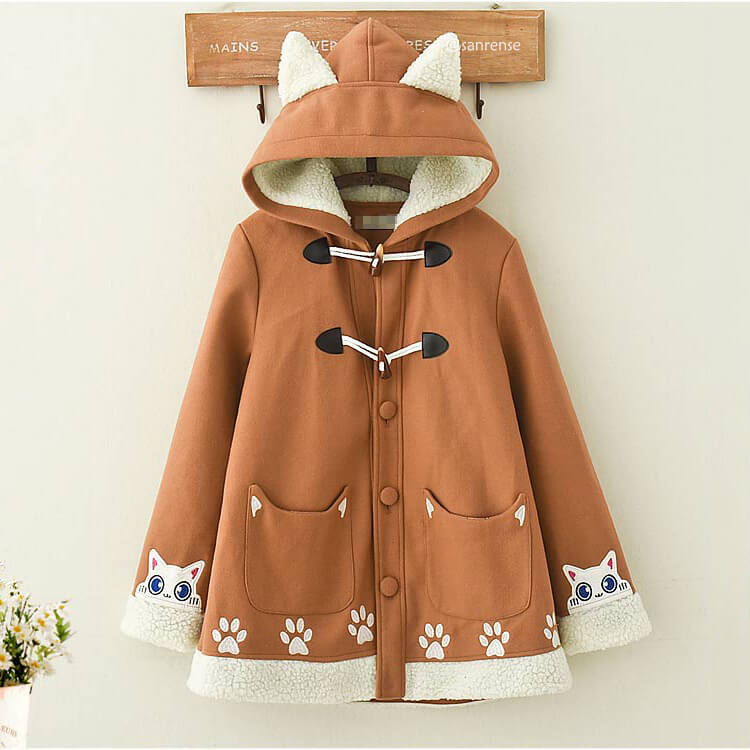 Brown Cat Hoodie Woolen Coat SE21233