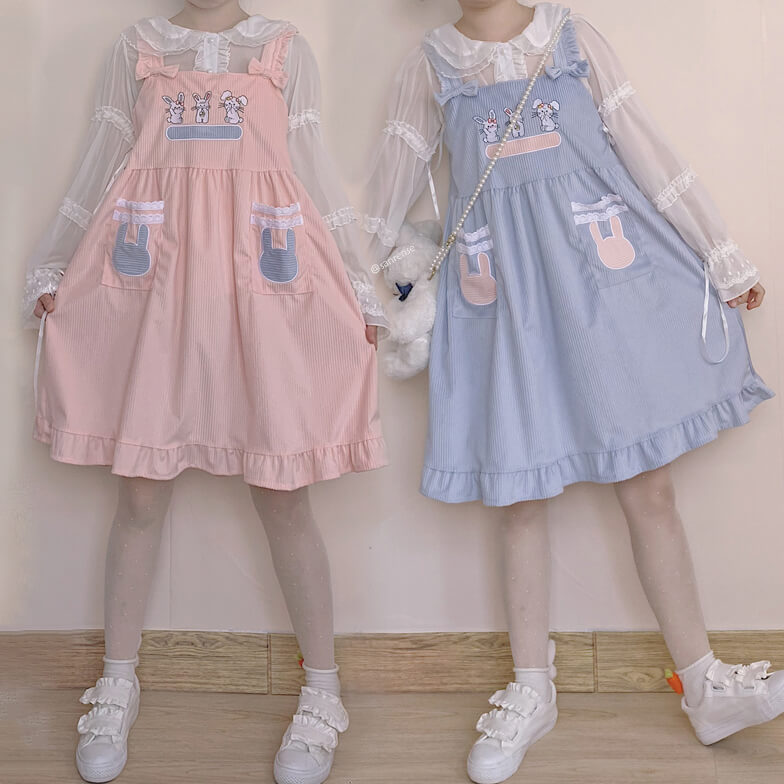 Bunny Corduroy Bow Strap Dress SE21529