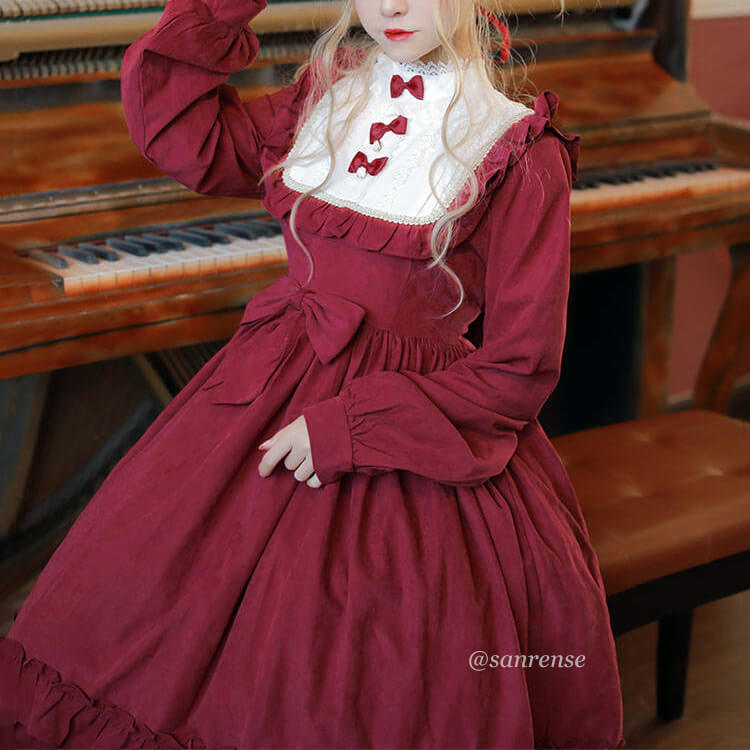 Burgundy Lolita Bow Dress SE21164