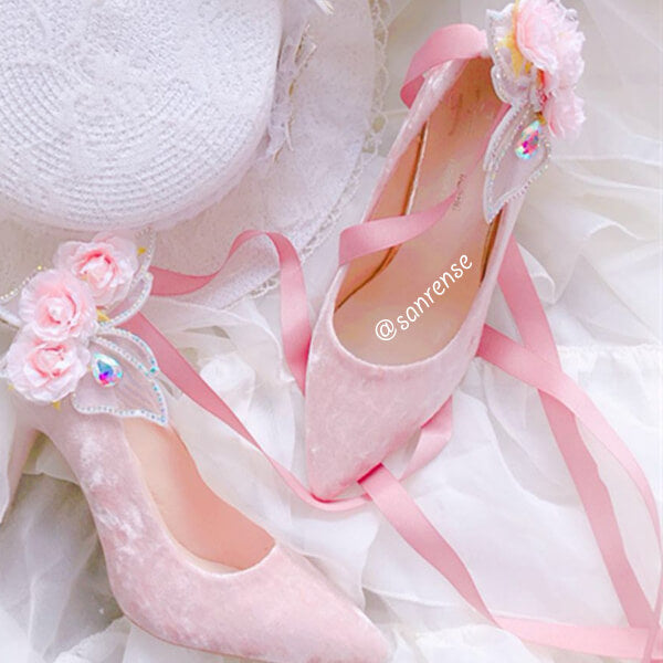 Butterfly Flower Velvet High Heel Wedding Shoes SE20960