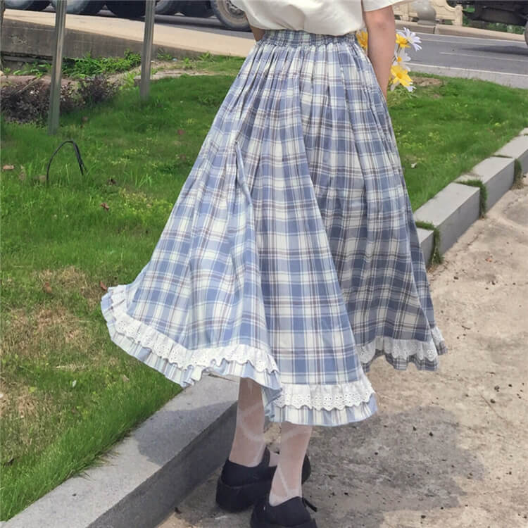 Button Lace Plaid Skirt SE21534