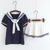 Japanese Students Cute Sailor T-shirt + Skirt Two-Piece SE6603