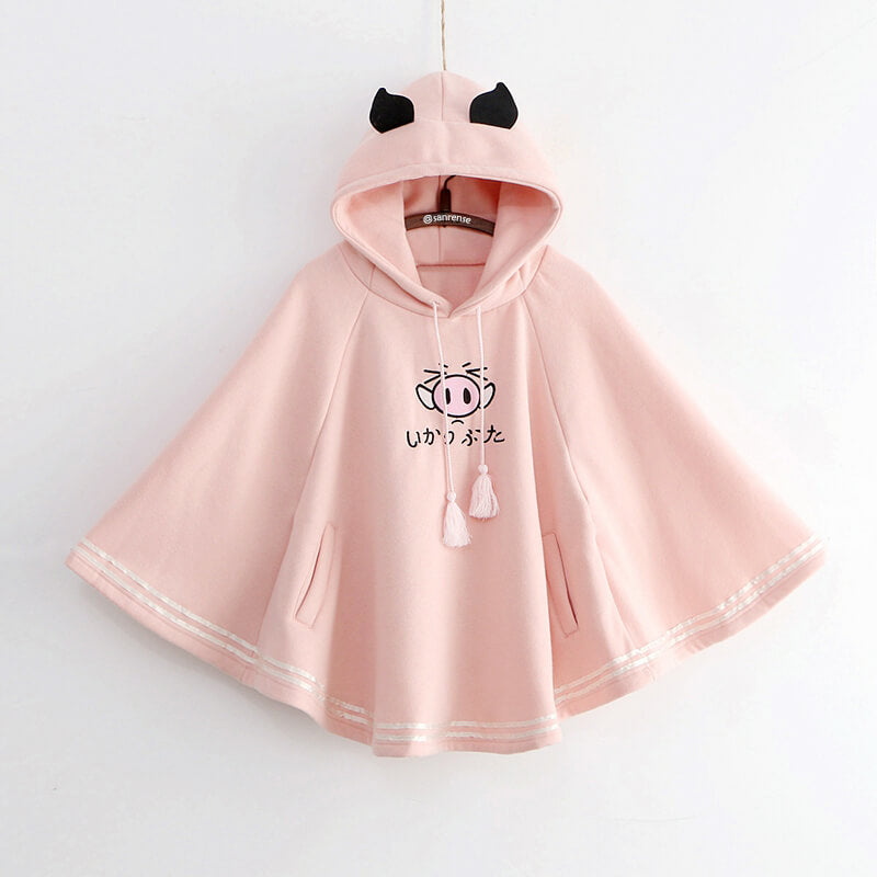 Cartoon Piggy Hoodie Cloak SE21238