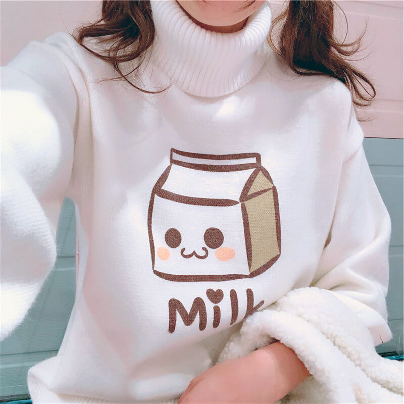 Cartoon Milk Box Sweater SE20499