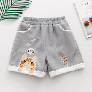 Cat Eating Fish Woolen Shorts SE20640