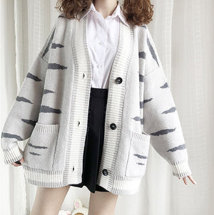Cat Tiger Pattern Sweater Coat SE20614