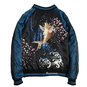 Cherry Blossom Embroidered Carp Baseball Jacket SE21068