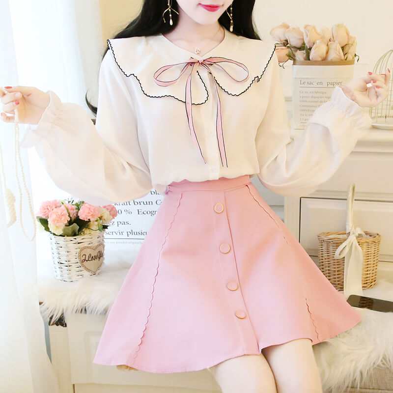 Chiffon Shirt Puff Skirt Suit SE20822